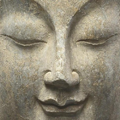 The peaceful face of a bodhisattva, in sculptural form